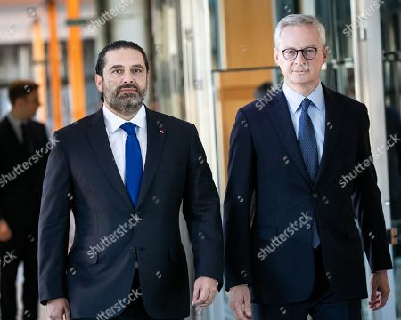 Stock Photo of Bruno Le Maire, Minister of Economy and Finance, receives Saad Hariri, President of the Council of Ministers of the Lebanese Republic in Paris