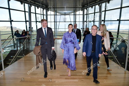 Stock Picture of Housing Mininster, Per Bolund and CEO Bjarni Bjarnason of CarbFix with Crown Princess Victoria of Sweden during her visit to the CarbFix company in Reykjavik