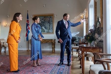 Crown Princess Victoria of Sweden is received by the President of Iceland, Gudni Johannesson and his wife Eliza Reid, during her visit to the Presidential residence in Reykjavik