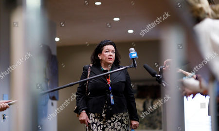 Stock Picture of Karen Pierce, Britain's Ambassador to the United Nations, talks to reporters before the start of a United Nations Security Council meeting about chemical weapons usage in Syria at UN headquarters in New York, New York, USA, 11 October 2019. The planned meeting comes a day after Security Council members were unable to come to an agreement on a statement condemning Turkey?s current military operation in Kurdish held territory in Northern Syria.