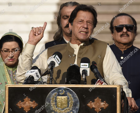 Imran Khan, Pakistan's Prime Minister talks with participants of a human chain event to show solidarity with Kashmiris living in Indian administered Kashmir, outside the Prime Minister office in Islamabad, Pakistan, 11 October 2019. Tension renewed in Kashmir since August when Indian government moved a resolution in the parliament removing the special constitutional status granted to the Kashmir region. Kashmir has been a matter of dispute between India and Pakistan since 1947 when both countries became sovereign states.