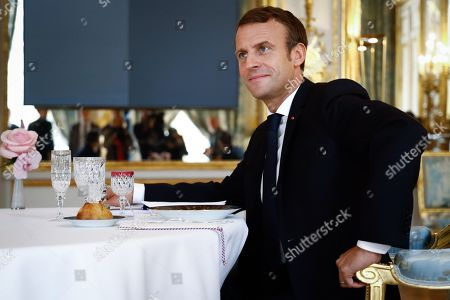 Stock Picture of French President Emmanuel Macron attends a lunch meeting with Hungarian Prime Minister at the Elysee presidential palace.