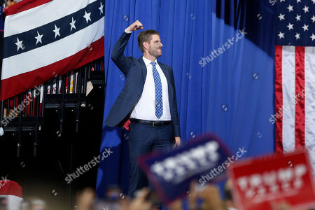 Stock Image of Eric Trump, son of President Donald Trump, arrives to talk about his father before the president addressed a campaign rally, in Minneapolis