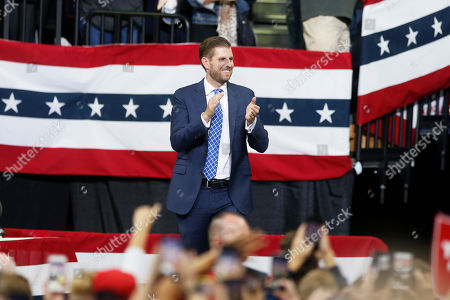 Eric Trump, son of President Donald Trump, arrives to talk about his father before the president addressed a campaign rally, in Minneapolis