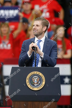 Stock Picture of Eric Trump, son of President Donald Trump, talks about his father before the president addressed a campaign rally, in Minneapolis