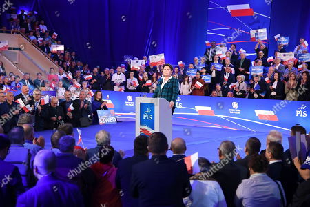 Former Polish Prime Minister Beata Szydlo delivers a speech during the ruling Law and Justice party's convention in Chelm, eastern Poland, 11 October 2019. An average of eleven candidates are running for each Sejm (lower house) seat in the national elections planned for 13 October 2019. In total, 5,114 people are running for 460 seats. Two hundred and seventy-eight people are running for the Senate (upper house), three candidatures for each seat. Five electoral committees were registered in all 41 constituencies, namely, the ruling Law and Justice (PiS) party, Poland's main opposition bloc the Civic Coalition (KO), the Polish People's Party (PSL), the Confederation Freedom and Independence and the Left (Lewica) bloc comprising liberal and left-wing parties the Democratic Left Alliance (SLD), Spring and Together.