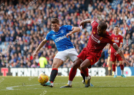 Steven Gerrard of Rangers & Glen Johnson of Liverpool