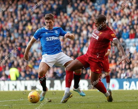 Stock Image of Steven Gerrard of Rangers & Glen Johnson of Liverpool