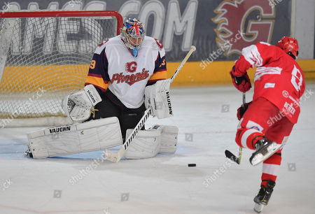 Petr Cech of Guildford Phoenix during the penalty shootout