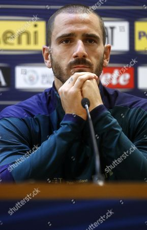 Italy's Leonardo Bonucci attends a press conference at Olimpico stadium in Rome, Italy, 11 October 2019. Italy prepares the UEFA Euro 2020 group J qualifying soccer matches against Greece on 12 October 2019 and Liechtenstein on 15 October 2019.