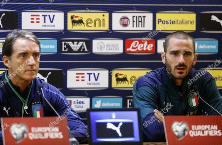 Italy's head coach Roberto Mancini and player Leonardo Bonucci (R) attend a press conference at Olimpico stadium in Rome, Italy, 11 October 2019. Italy prepares the UEFA Euro 2020 group J qualifying soccer matches against Greece on 12 October 2019 and Liechtenstein on 15 October 2019.