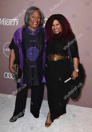 Sandra Coleman, Chaka Khan. Sandra Coleman, left, and Chaka Khan arrive at Variety's Power of Women, at the Beverly Wilshire hotel in Beverly Hills, Calif