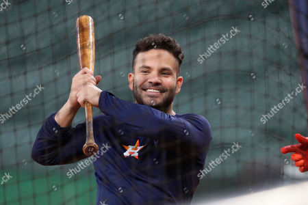 Houston Astros' Jose Altuve takes batting practice during a workout for a baseball American League Championship Series in Houston, . Houston will face the New York Yankees, Saturday