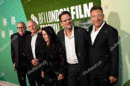 "Jon Landau, George Travis, Barbara Carr, Thom Zimny, Bruce Springsteen. Jon Landau, George Travis, Barbara Carr, Thom Zimny and Bruce Springsteen pose for photographers upon arrival at the premiere of the film ""Western Stars"" which is screened as part of the London Film Festival, in central London"