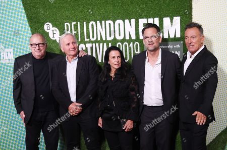 Jon Landau and George Travis, Barbara Carr, director Thom Zimny and US musician and film director Bruce Springsteen arrive to the European premiere of the film 'Western Stars' in London, Britain, 11 October 2019. The 2019 BFI Film Festival runs from 02 to 13 October.