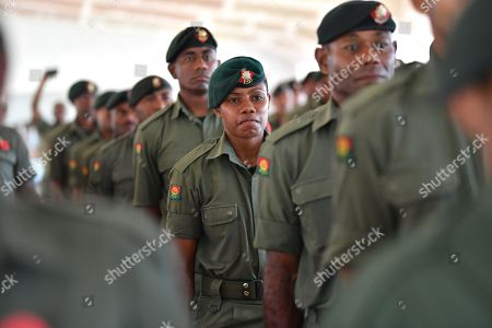 Fijian soldiers look on during a visit by Australian Prime Minister Scott Morrison to the Blackrock Camp in Nadi, Fiji, 12 October 2019. Morrison is on a two visit to Fiji.
