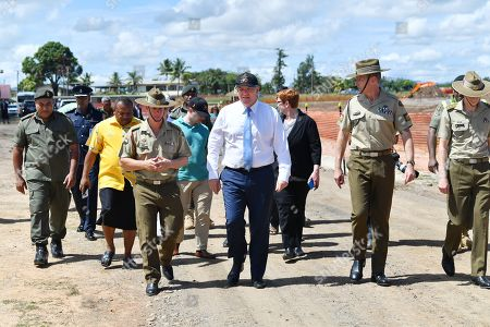 Australian Prime Minister Scott Morrison speaks with representatives while on a visit at the Blackrock Camp in Nadi, Fiji, 12 October 2019. Morrison is on a two visit to Fiji.