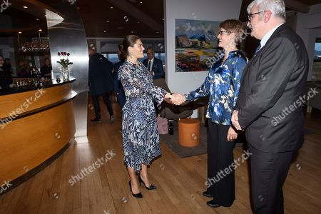 Crown Princess Victoria arrives at a dinner held at Icelandair Hotel Fludir