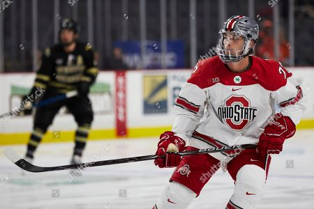 Ohio State forward Carson Meyer (72) skates against the Western Michigan during an NCAA hockey game on in Toledo, Ohio