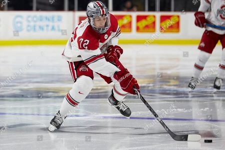Ohio State forward Carson Meyer (72) skates with the puck against the Western Michigan during an NCAA hockey game on in Toledo, Ohio