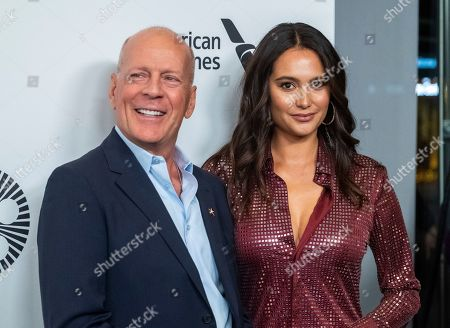 "Bruce Willis, Emma Heming. Bruce Willis and Emma Heming attend the ""Motherless Brooklyn"" premiere during the 57th New York Film Festival at Alice Tully Hall, in New York"