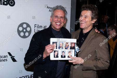 "Josh Pais, Willem Dafoe. Josh Pais, left, and Willem Dafoe attend the ""Motherless Brooklyn"" premiere during the 57th New York Film Festival at Alice Tully Hall, in New York"