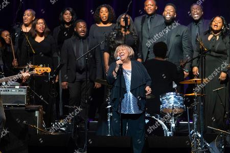 "Mavis Staples, The Celebration Gospel Choir. Mavis Staples performs onstage with The Celebration Gospel Choir during the ""Silence the Violence"" Benefit Concert held at The Anthem, in Washington"