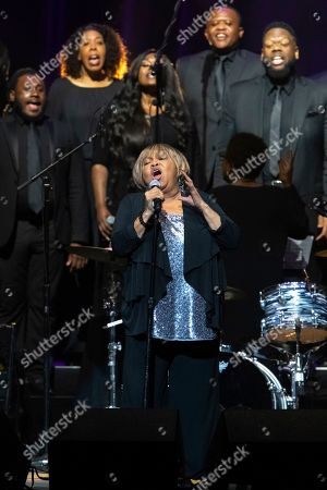 """Stock Image of Mavis Staples, The Celebration Gospel Choir. Mavis Staples performs on stage with The Celebration Gospel Choir during the """"Silence the Violence"""" Benefit Concert held at The Anthem, in Washington"""