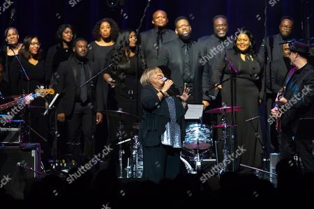 """Stock Picture of Mavis Staples, The Celebration Gospel Choir. Mavis Staples performs on stage with The Celebration Gospel Choir during the """"Silence the Violence"""" Benefit Concert held at The Anthem, in Washington"""