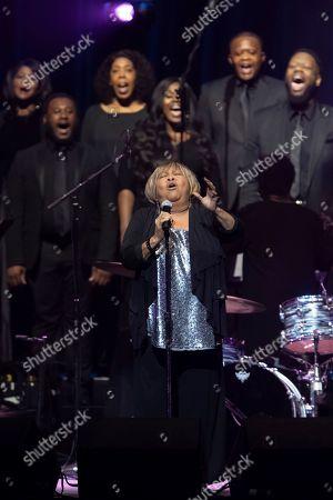 "Mavis Staples, The Celebration Gospel Choir. Mavis Staples performs on stage with The Celebration Gospel Choir during the ""Silence the Violence"" Benefit Concert held at The Anthem, in Washington"