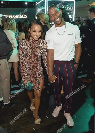 Exclusive - Karrueche Tran and Victor Cruz at Tiffany & Co. Mens Launch, held at Hollywood Athletic Club, Los Angeles, CA @tiffanyandco #TiffanyMens