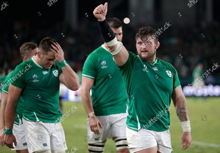Ireland's Andrew Porter gestures to the crowd following their 47-5 win over Samoa in their Rugby World Cup Pool A game at Fukuoka Hakatanomori Stadium in Fukuoka, Japan