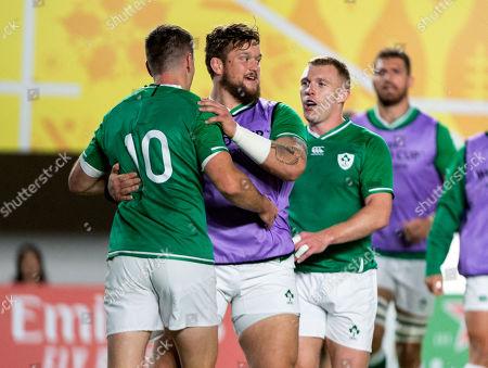 Ireland vs Samoa. Ireland's Jonathan Sexton celebrates his try with Andrew Porter