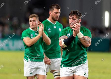 Stock Image of Ireland vs Samoa. Ireland's Andrew Porter celebrates after the game