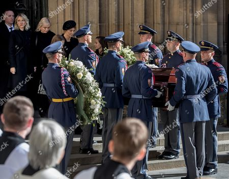 Widow Ivana Gott (4-L, rear) and others follows members of the Prague Castle Guard carrying the coffin containing the body of late Czech singer Karel Gott after a funeral mass in the Saint Vitus Cathedral at the Prague Castle, in Prague, Czech Republic, 12 October 2019. Karel Gott died at the age of 80 shortly before midnight on 01 October 2019 following a long suffering of cancer. Others are not identified.