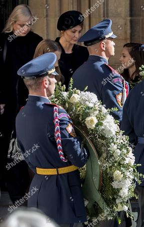 Widow Ivana Gottova (C, rear) and others follows members of the Prague Castle Guard carrying the coffin containing the body of late Czech singer Karel Gott after a funeral mass in the Saint Vitus Cathedral at the Prague Castle, in Prague, Czech Republic, 12 October 2019. Karel Gott died at the age of 80 shortly before midnight on 01 October 2019 following a long suffering of cancer.