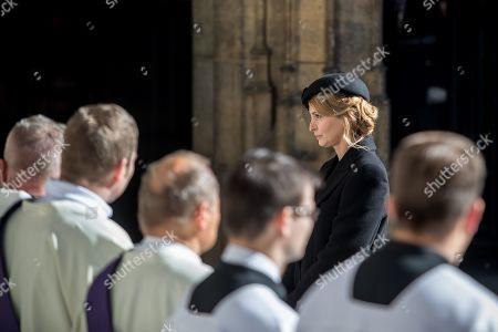 Widow Ivana Gottova (R) leaves after a funeral mass for late Czech singer Karel Gott in the Saint Vitus Cathedral at the Prague Castle, in Prague, Czech Republic, 12 October 2019. Karel Gott died at the age of 80 shortly before midnight on 01 October 2019 following a long suffering of cancer. Others are not identified.