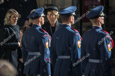 Widow Ivana Gottova (C, rear) follows members of the Prague Castle Guard carrying the coffin containing the body of late Czech singer Karel Gott after a funeral mass in the Saint Vitus Cathedral at the Prague Castle, in Prague, Czech Republic, 12 October 2019. Karel Gott died at the age of 80 shortly before midnight on 01 October 2019 following a long suffering of cancer. Others are not identified.