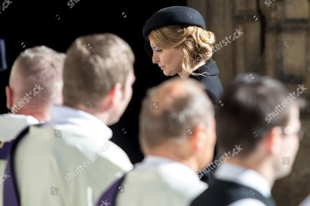 Widow Ivana Gottova (C, rear) leaves after a funeral mass for late Czech singer Karel Gott in the Saint Vitus Cathedral at the Prague Castle, in Prague, Czech Republic, 12 October 2019. Karel Gott died at the age of 80 shortly before midnight on 01 October 2019 following a long suffering of cancer. Others are not identified.