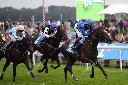 DUBAI ICON (12) ridden by Josephine Gordon and trained by Saeed bin Suroor winning The Coldstream Guards Association Cup over 1m 2f (£15,600) for Godolphin during the York Coral Sprint Trophy meeting at York Racecourse, York