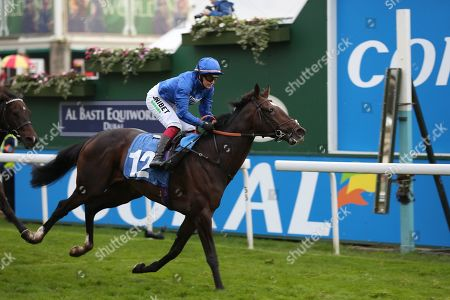 Stock Picture of DUBAI ICON (12) ridden by Josephine Gordon and trained by Saeed bin Suroor winning The Coldstream Guards Association Cup over 1m 2f (£15,600) for Godolphin during the York Coral Sprint Trophy meeting at York Racecourse, York