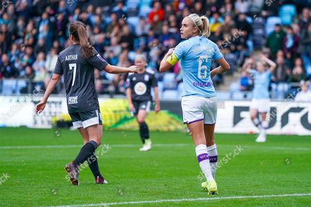 Manchester City Women defender Steph Houghton (captain) (6) reacts during the FA Women's Super League match between Manchester City Women and BIrmingham City Women at the Sport City Academy Stadium, Manchester