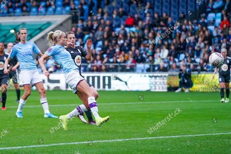 Manchester City Women defender Steph Houghton (captain) (6) takes a shot during the FA Women's Super League match between Manchester City Women and BIrmingham City Women at the Sport City Academy Stadium, Manchester