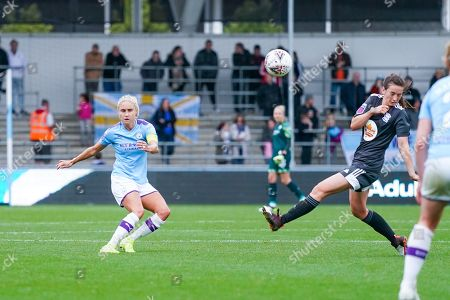 Manchester City Women defender Steph Houghton (captain) (6) passes the ball during the FA Women's Super League match between Manchester City Women and BIrmingham City Women at the Sport City Academy Stadium, Manchester