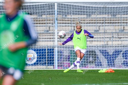 Manchester City Women defender Steph Houghton (captain) (6) warming up during the FA Women's Super League match between Manchester City Women and BIrmingham City Women at the Sport City Academy Stadium, Manchester