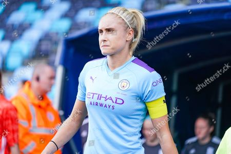 Manchester City Women defender Steph Houghton (captain) (6) during the FA Women's Super League match between Manchester City Women and BIrmingham City Women at the Sport City Academy Stadium, Manchester