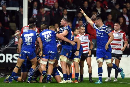 Stock Picture of Jack Davies of Bath Rugby celebrates a try from team-mate Jack Walker