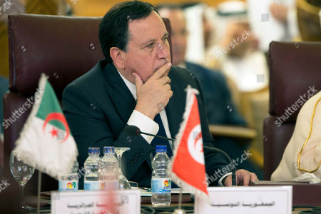 Tunisian Foreign Minster Khemaies Jhinaoui attends an Arab League states' foreign ministers emergency meeting to discuss Syria situation, at the Arab League headquarters in Cairo, Egypt, 12 October 2019. Turkey has launched an offensive targeting Kurdish forces in north-eastern Syria, days after the US withdrew troops from the area.