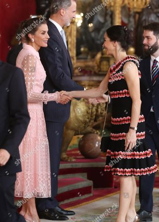 Spain's King Felipe VI (2-L) and Queen Letizia (L) welcome Spanish ballet dancer Tamara Rojo (2-R), artistic director of the English National Ballet in London, for an official reception at the Royal Palace on the occasion of the Spanish National Day, in downtown Madrid, Spain, 12 October 2019.