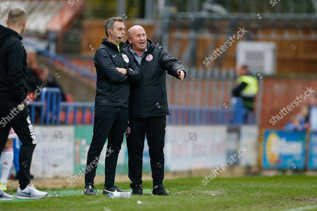 John Coleman Manager of Accrington speaks to Fourth Official James Wilson during the EFL Sky Bet Championship match between Huddersfield Town and Hull City at the John Smiths Stadium, Huddersfield